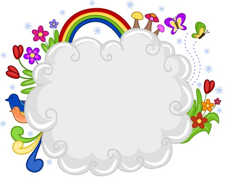 Background Design Featuring a Cloud and Rainbow photo
