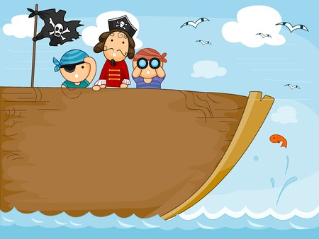 lookout: Background Design Featuring a Pirate Ship Stock Photo
