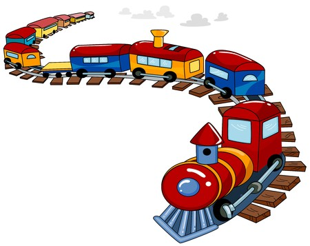 train cartoon: Background Design Featuring a Toy Train