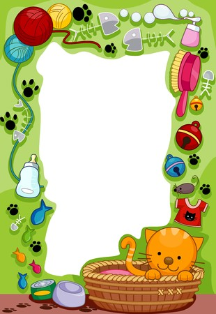 cat grooming: Frame Design Featuring a Cat and her suppliies