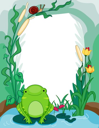 Frame Design Featuring a Frog Amidst a Lotus Background photo