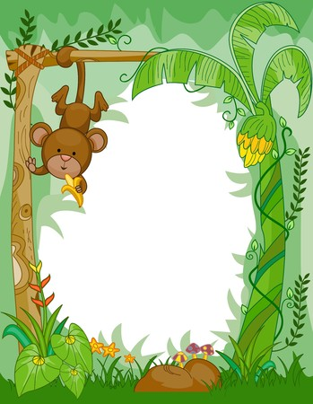 cartoon forest: Frame Design Featuring a Monkey Eating Bananas in the Jungle