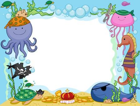 aquatic animal: Frame Design Featuring Pirate Animals Underwater