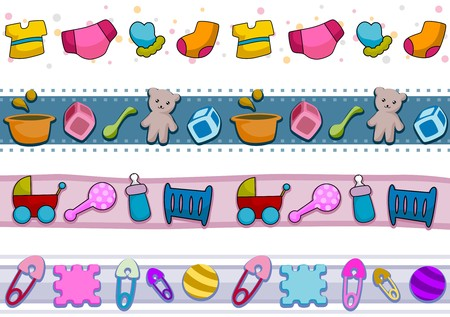 Four Border Designs Featuring Baby Things Stock Photo - 8230084