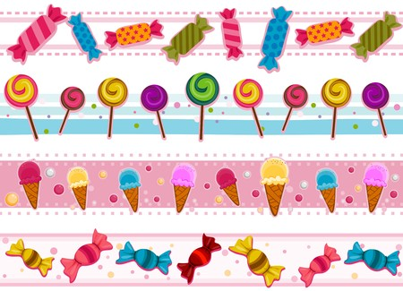 candy border: Four Border Designs of Candies and other Sweets