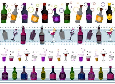mishmash: Four Border Designs of Various Drinks; Shakers and Glasses Stock Photo