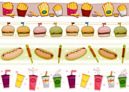 Four Border Designs of Fast Food Products Stock Photo - 8230106