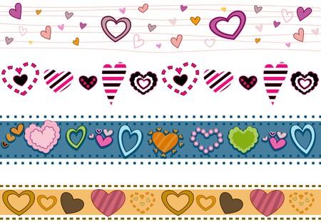 mishmash: Four Border Designs of Hearts Stock Photo
