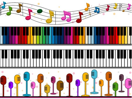 Four Border Designs of Music-related Items Stock Photo - 8230120