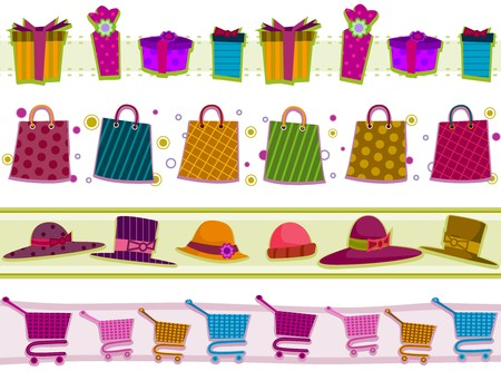 mishmash: Four Border Designs of Shopping-related Items