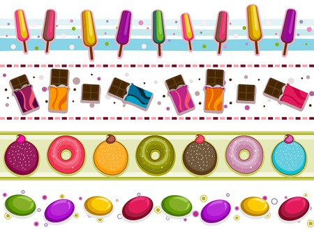 Four Border Designs of Various Sweets and Desserts Stock Photo - 8230090
