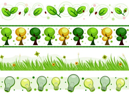 Four Border Designs of Environment-related Items Stock Photo - 8230138