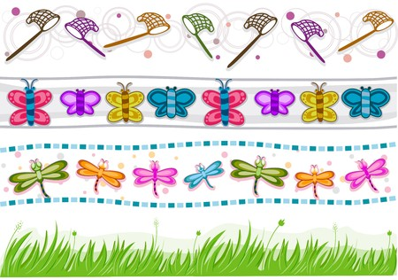 butterfly net: Four Border Designs of Various Insects and Grass