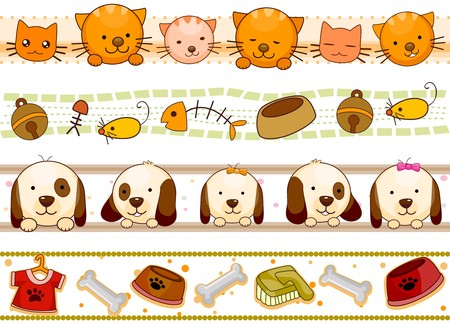 perro caricatura: Cuatro de dise�os de borde de animales y otros elementos relacionados con el