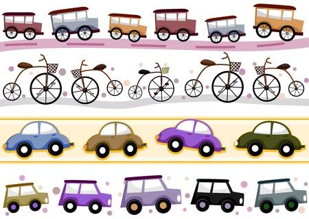 mishmash: Four Border Designs of Vintage Vehicles