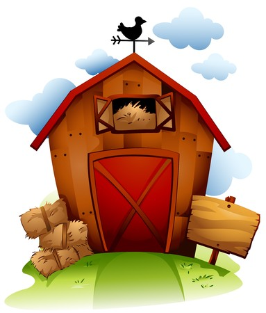 Colorful Illustration Featuring a Barn with Haystack