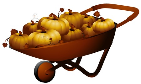 pushcart: Illustration Featuring a Wheelbarrow Full of Pumpkins