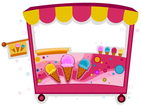 Colorful Illustration of an Ice Cream Stall illustration