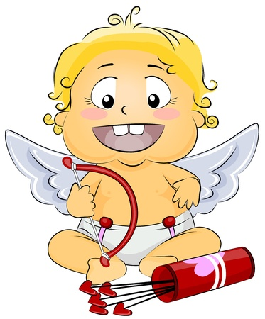 Illustration Featuring a Baby Cupid holding Bow and Arrows illustration