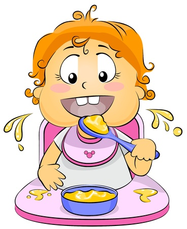Illustration of a Baby Eating Baby Food illustration