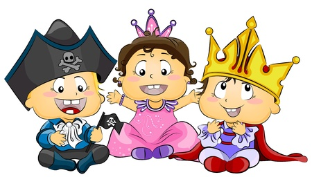 princes: Illustration of Cute Little Kids Wearing Costumes