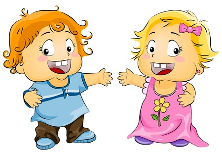 Illustration of a Little Boy and Girl Presenting Something Stock Illustration - 8268682