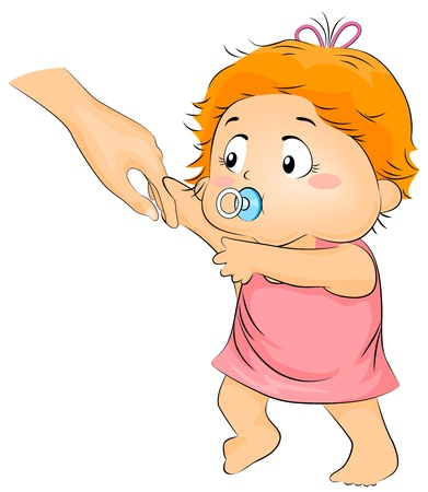 Illustration of a Baby Trying to Learn How to Walk illustration