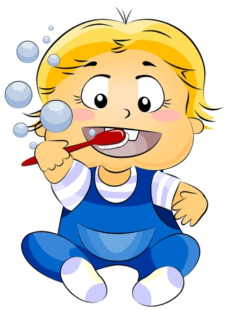 cleanliness: Illustration of a Baby Brushing His Teeth