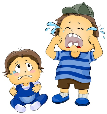 Illustration of a Young Boy Crying as a Teary-eyed Baby Watches Him Stock Illustration - 8268698