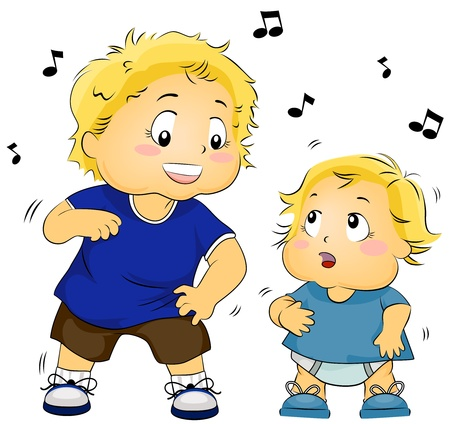 Illustration of a Young Boy Teaching a Baby to Dance Stock Illustration - 8268710