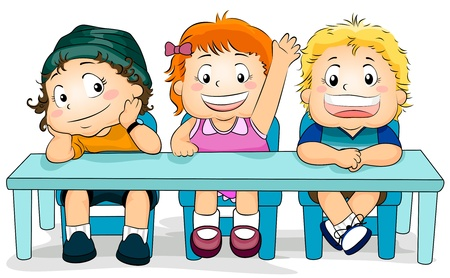 Illustration Featuring Kids in a Classroom illustration