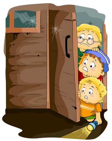 osare: Illustrazione con bambini entrata in una casa infestata