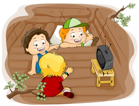 hideout: Illustration Featuring Kids in a Tree House Stock Photo