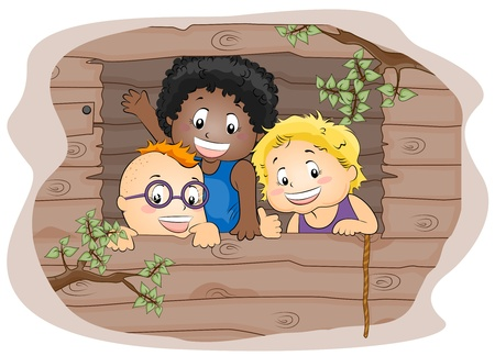 Illustration Featuring Kids in a Tree house illustration