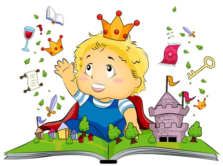 Illustration Featuring a Kid Delighted at a Fantasy Book illustration