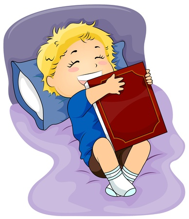Illustration of a Kid Hugging his Favorite Book illustration
