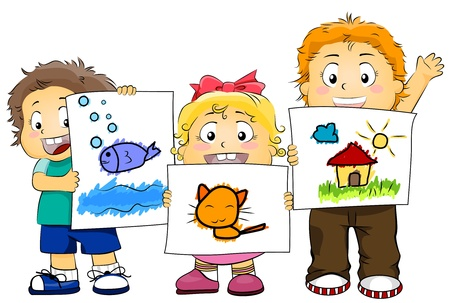 displaying: Illustration Featuring Kids Displaying their Artwork Stock Photo