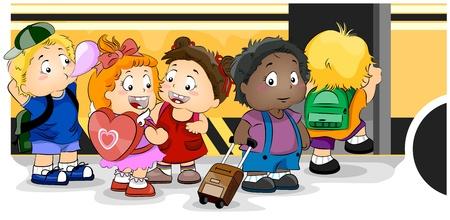 cartoon school girl: Ilustraci�n con ni�os en un autob�s de la escuela de embarque  Foto de archivo