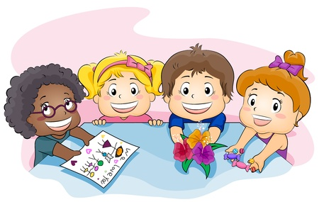 schoolmate: Illustration Featuring Kids Showing a Present for Their Teacher Stock Photo