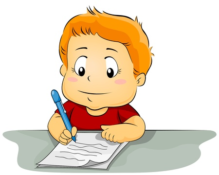 composing: Illustration Featuring a Kid Writing on a Piece of Paper Stock Photo