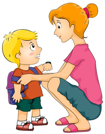 Illustration Featuring a Mother Helping Her Kid Prepare for School illustration