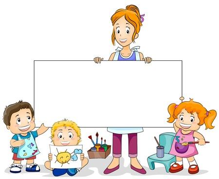 maestra preescolar: Ilustraci�n con una clase de arte para ni�os y un Consejo en blanco Foto de archivo