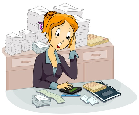 paperwork: Illustration Featuring a Female Accountant Computing
