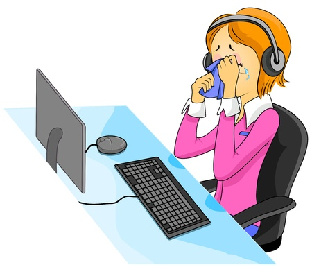 Illustration Featuring a Crying Call Center Agent Stock Illustration - 8268677
