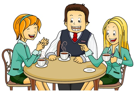chatting: Illustration Featuring Employees on their Coffee Break Stock Photo