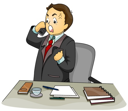 angry boss: Illustration Featuring an Upset Businessman Talking on the Phone Stock Photo
