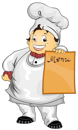 chef caricatura: Ilustraci�n con un chef de env�o, celebraci�n de la Junta de men� en blanco
