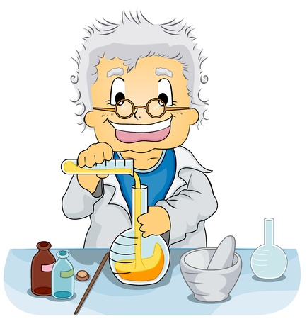 lab coats: Illustration Featuring a Scientist Experimenting with Chemicals
