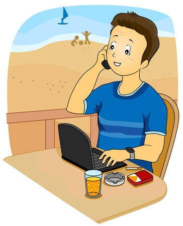 while: Illustration Featuring a Man Working While on Vacation Stock Photo