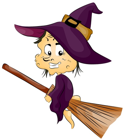broomstick: Illustration Featuring a Witch Riding a Broom